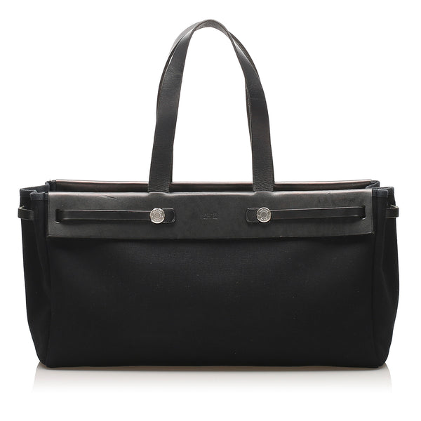 Black Hermes Herbag Cabas MM Bag