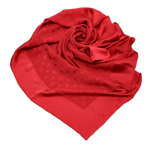 Red Louis Vuitton Monogram Silk Scarf