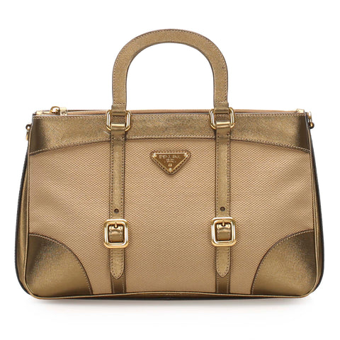 Tan Prada Tessuto Satchel Bag