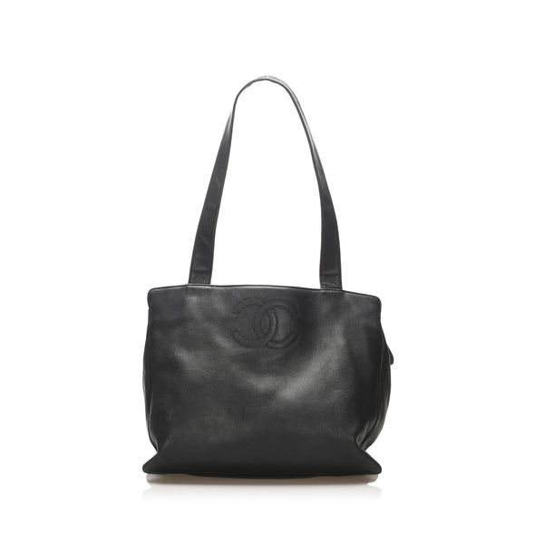 Black Chanel CC Lambskin Leather Tote Bag
