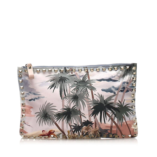 Beige & Multicolor Valentino Rockstud Canvas Clutch Bag