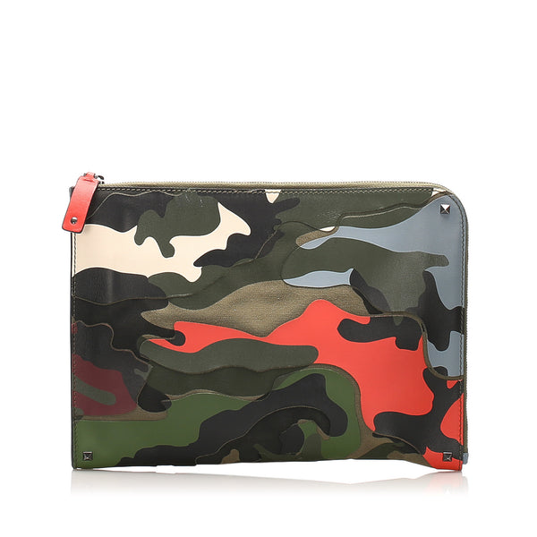 Green & Multicolor Valentino Camouflage Leather Clutch Bag