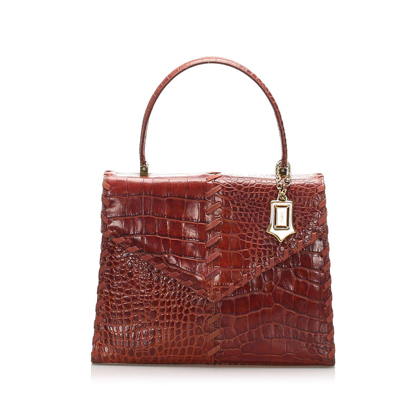 Red YSL Croc Leather Handbag Bag