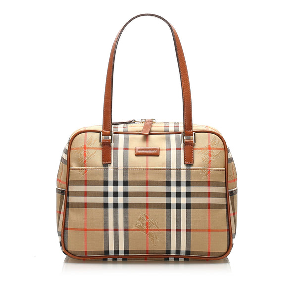 Brown Burberry Haymarket Check Canvas Shoulder Bag