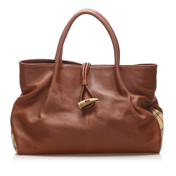 Brown Burberry Leather Tote Bag