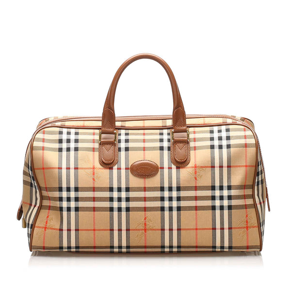 Brown Burberry Haymarket Check Canvas Travel Bag