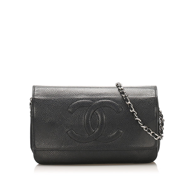 Chanel CC Caviar Leather Crossbody Bag