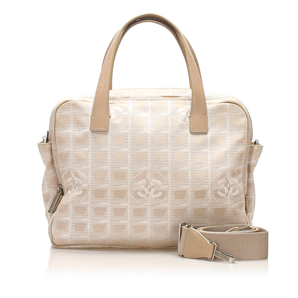 Beige Chanel New Travel Line Nylon Satchel Bag