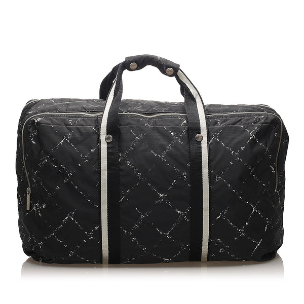 Black Chanel Old Travel Line Nylon Travel Bag
