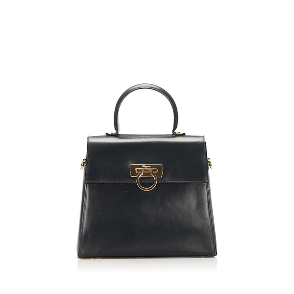 Black Ferragamo Gancini Leather Satchel Bag