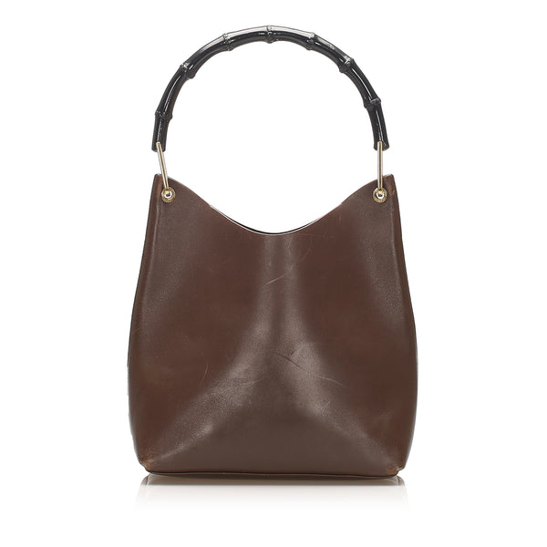 Brown Gucci Bamboo Leather Shoulder Bag