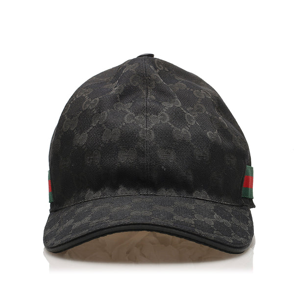 Black Gucci GG Canvas Baseball Cap