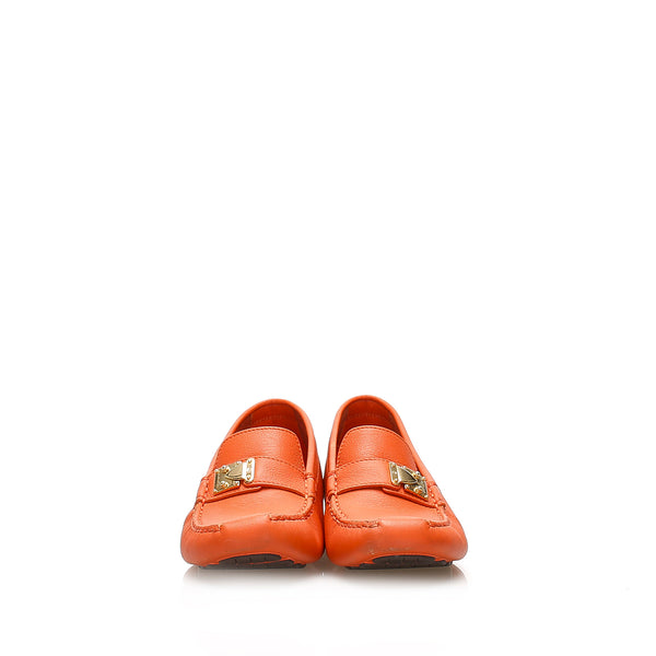 Orange Louis Vuitton Driving Leather Shoes
