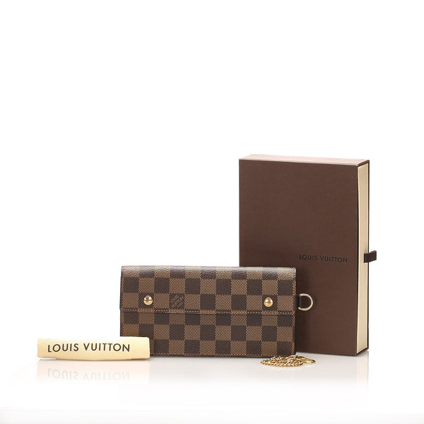 Brown Louis Vuitton Damier Ebene Accordion Wallet