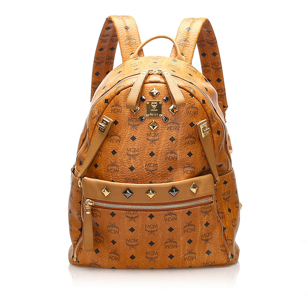 Tan MCM Studded Visetos Stark Leather Backpack Bag