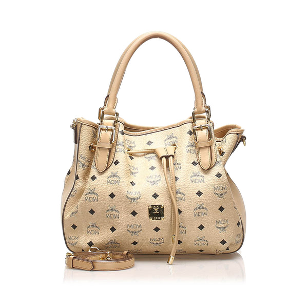 Tan MCM Visetos Leather Satchel Bag