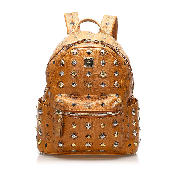 Tan MCM Visetos Stark Leather Backpack Bag
