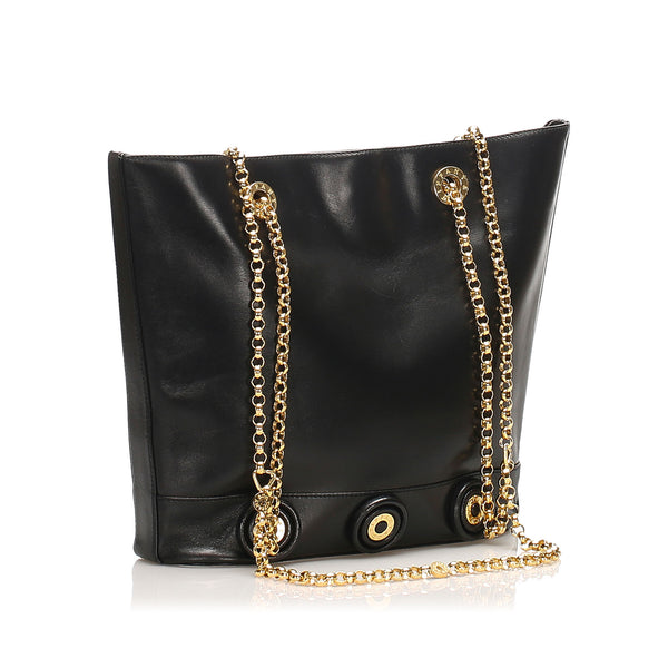 Black Tiffany Chain Leather Tote Bag