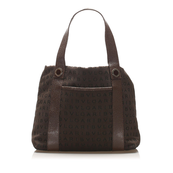 Brown Bvlgari Logomania Canvas Handbag Bag