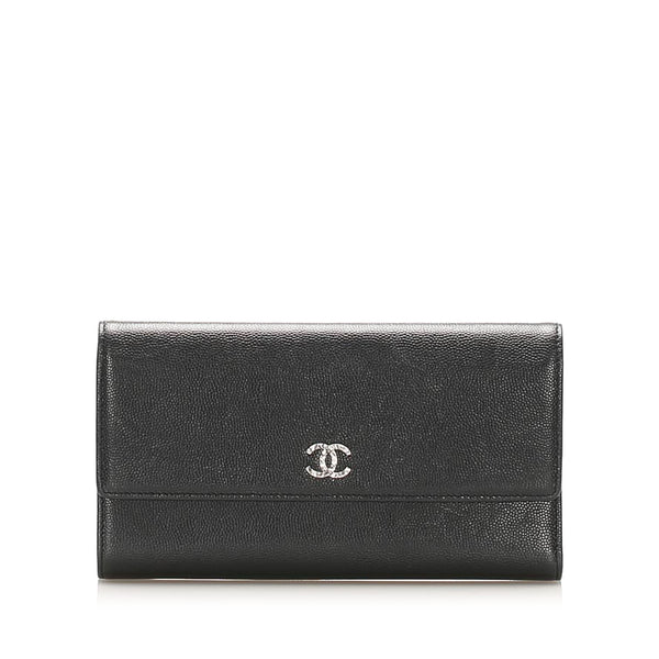 Black Chanel CC Leather Wallet