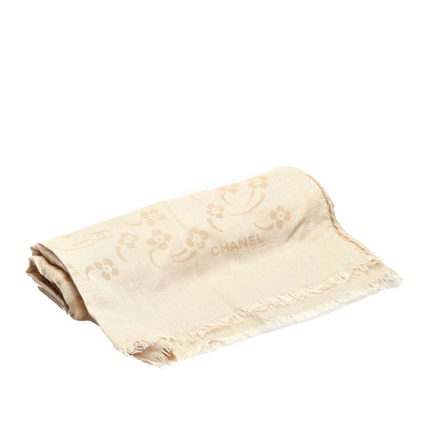 Brown Chanel Printed Silk Scarf