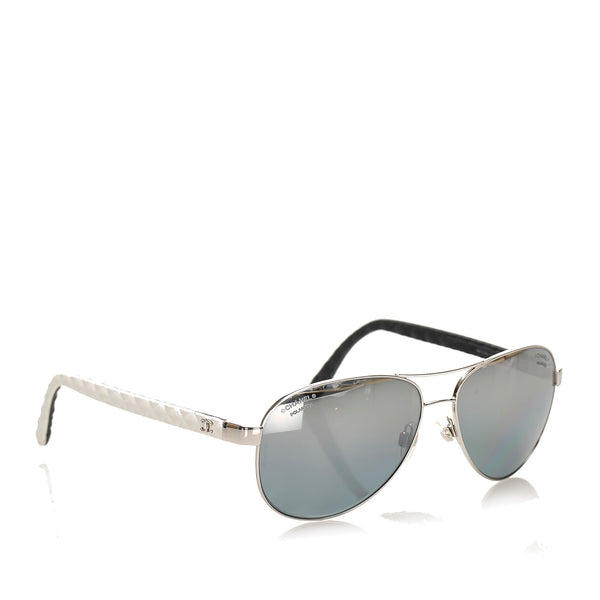Black Chanel Aviator Tinted Sunglasses