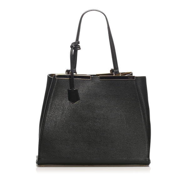 Black Fendi 2Jours Leather Tote Bag