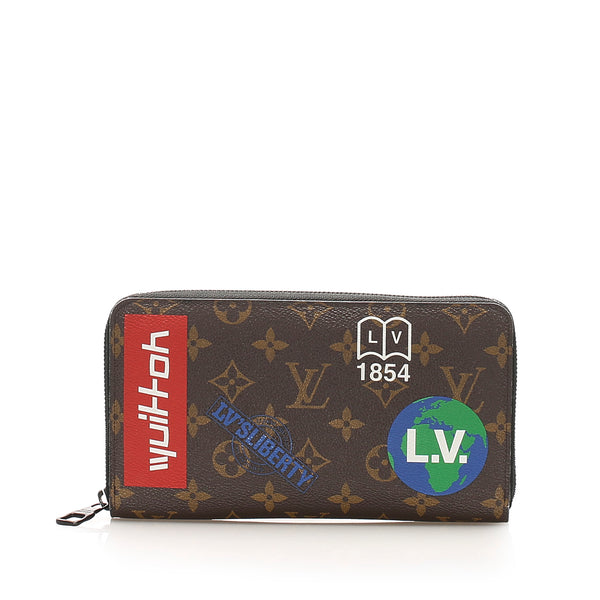 Brown Louis Vuitton Monogram Logo Story Zippy Wallet