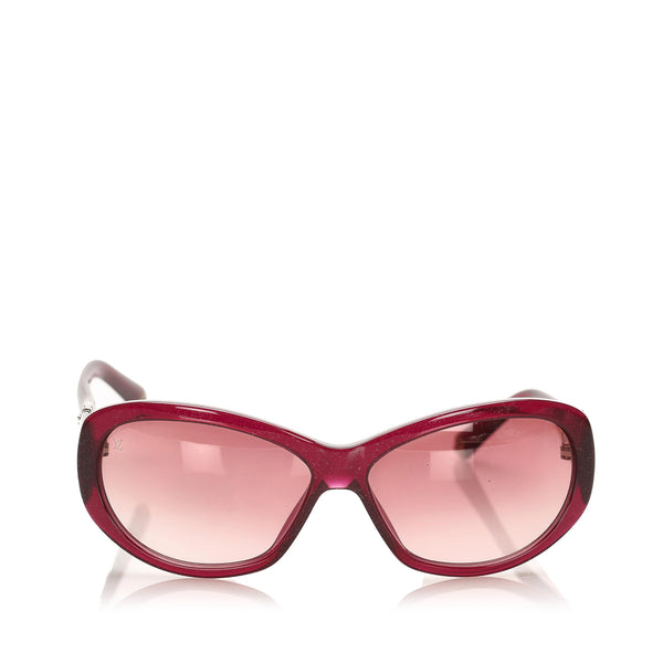 Red Louis Vuitton Round Tinted Sunglasses