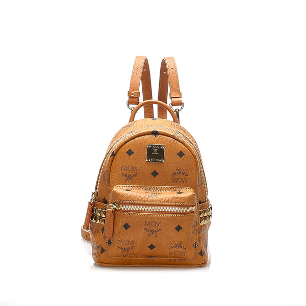 Tan MCM Mini Visetos Leather Backpack Bag