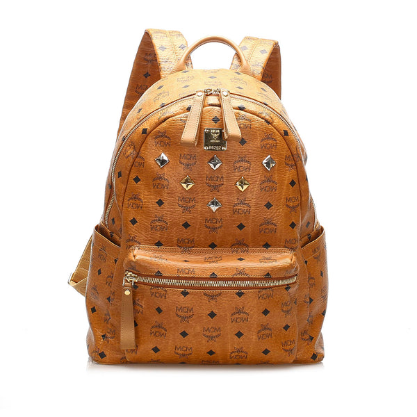 Tan MCM Visetos Studded Leather Backpack Bag