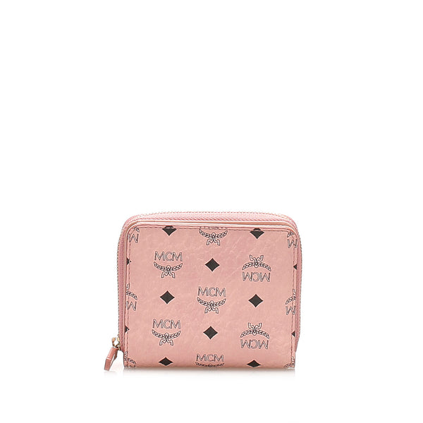 Pink MCM Visetos Leather Wallet