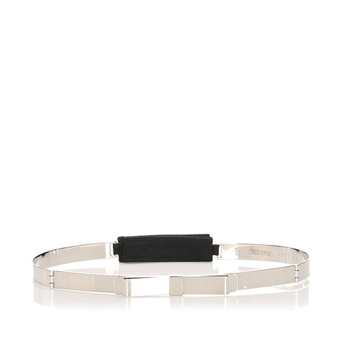 Silver Miu Miu Ribbon Leather Belt