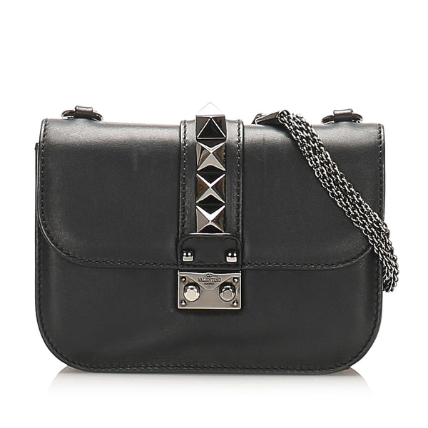 Black Valentino Small Rockstud Glam Lock Leather Crossbody Bag