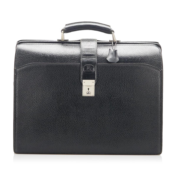 Black Burberry Leather Business Bag