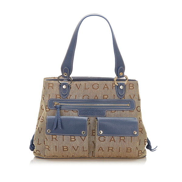 Gray Bvlgari Logomania Canvas Handbag Bag