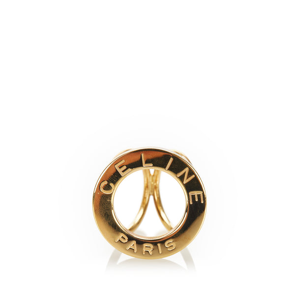 Gold Celine Logo Scarf Ring
