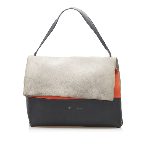 Gray Celine All Soft Leather Shoulder Bag
