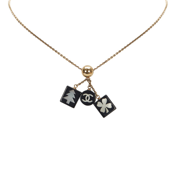 Gold Chanel CC Charms Pendant Necklace