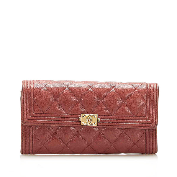 Red Chanel Le Boy Lambskin Leather Long Wallet