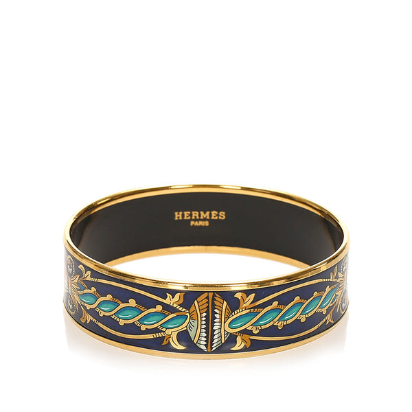Black Hermes Enamel MM Bangle