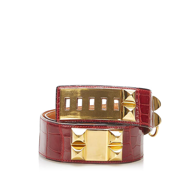 Red Hermes Collier de Chien Belt