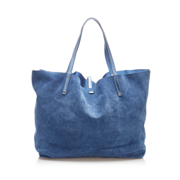 Blue Tiffany Leather Reversible Tote Bag