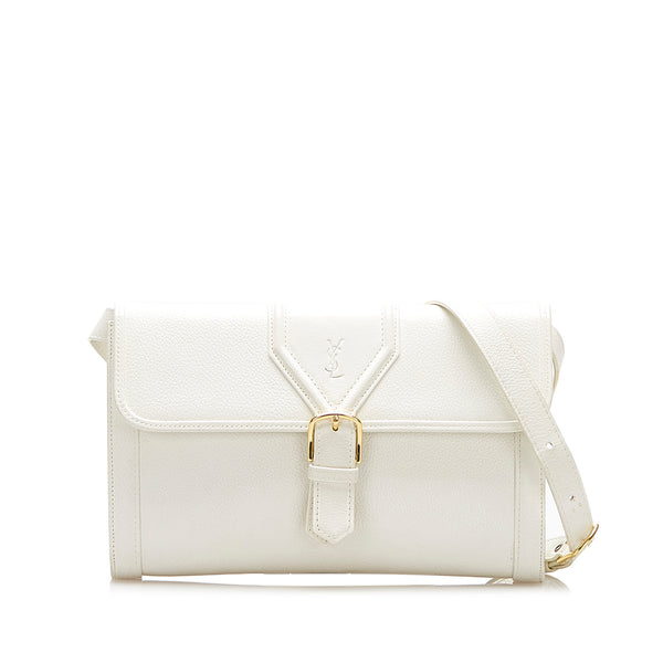White YSL Leather Shoulder Bag
