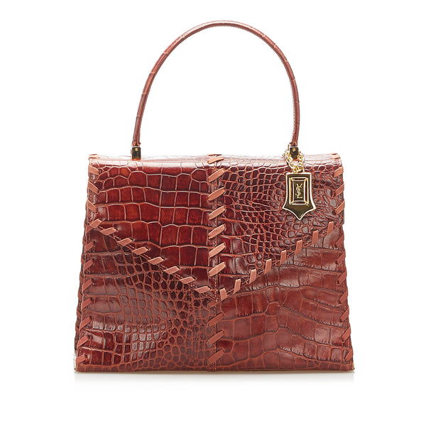 Brown YSL Croc Embossed Leather Handbag Bag