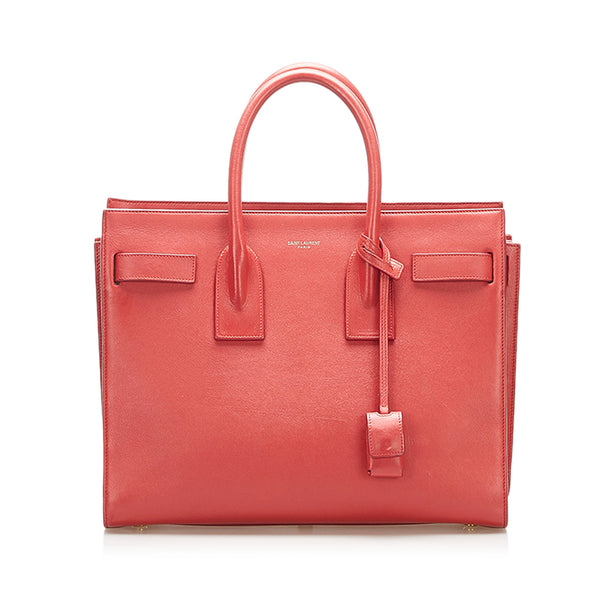 Red YSL Small Leather Sac de Jour Bag