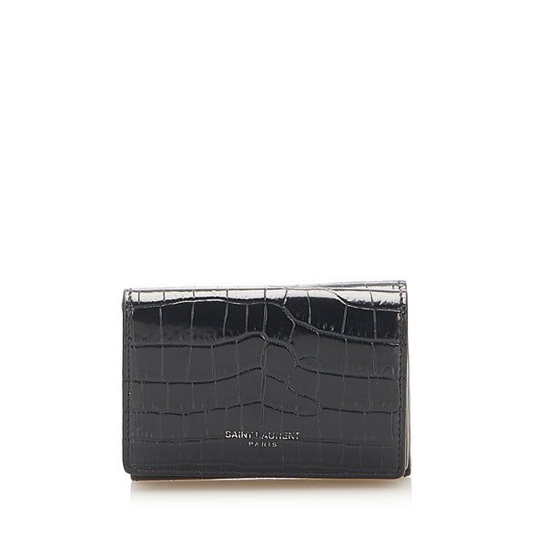 Black YSL Crocodile Embossed Compact Wallet
