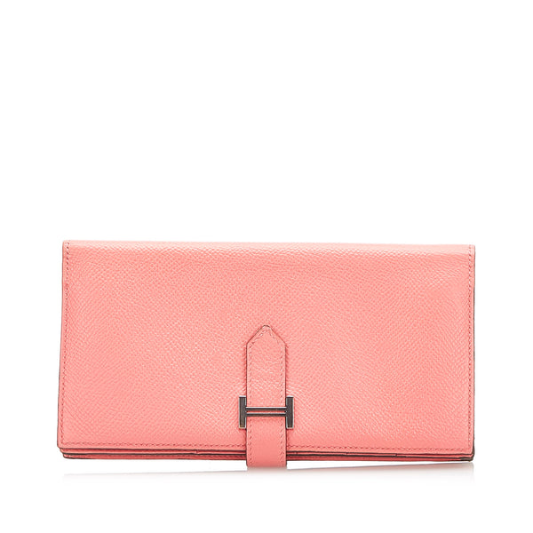 Pink Hermes Bearn Soufflet Leather Wallet