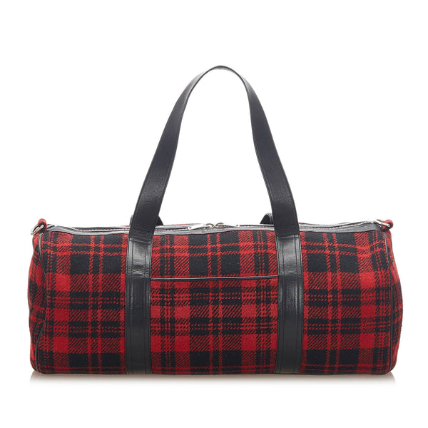 Red YSL Printed Wool Travel Bag