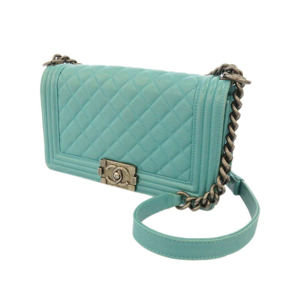 Green Chanel Medium Boy Lambskin Leather Flap Bag